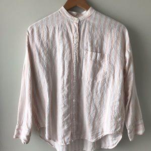 Linen Oversized Collarless Shirt
